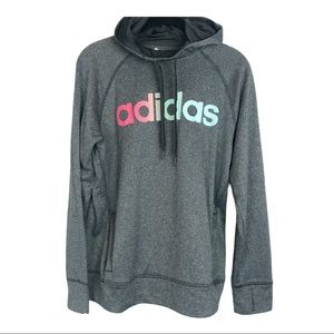 Adidas gray spell out hooded sweatshirt